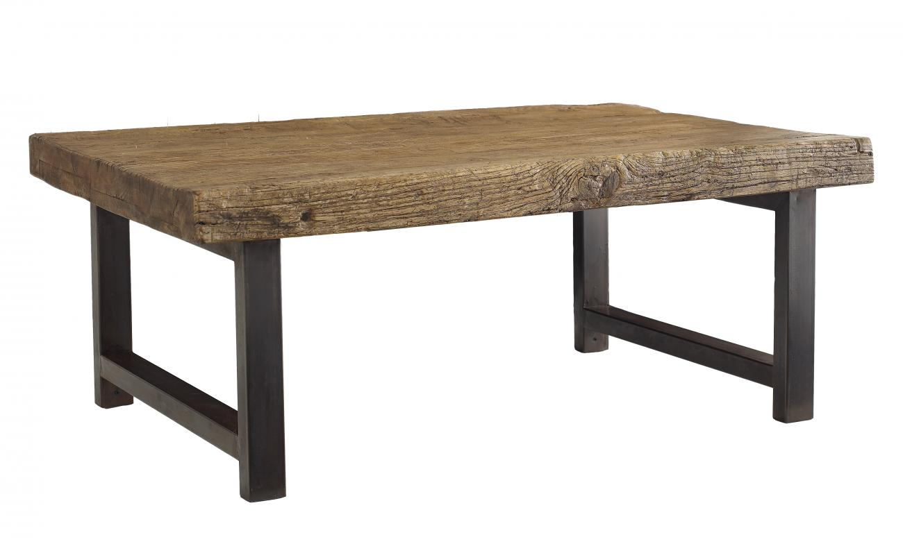 Exceptional Weathered Wood Topped Coffee Table