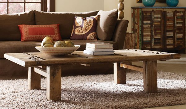 Trinity Old Door Coffee Table 68w 35d Elm Wood