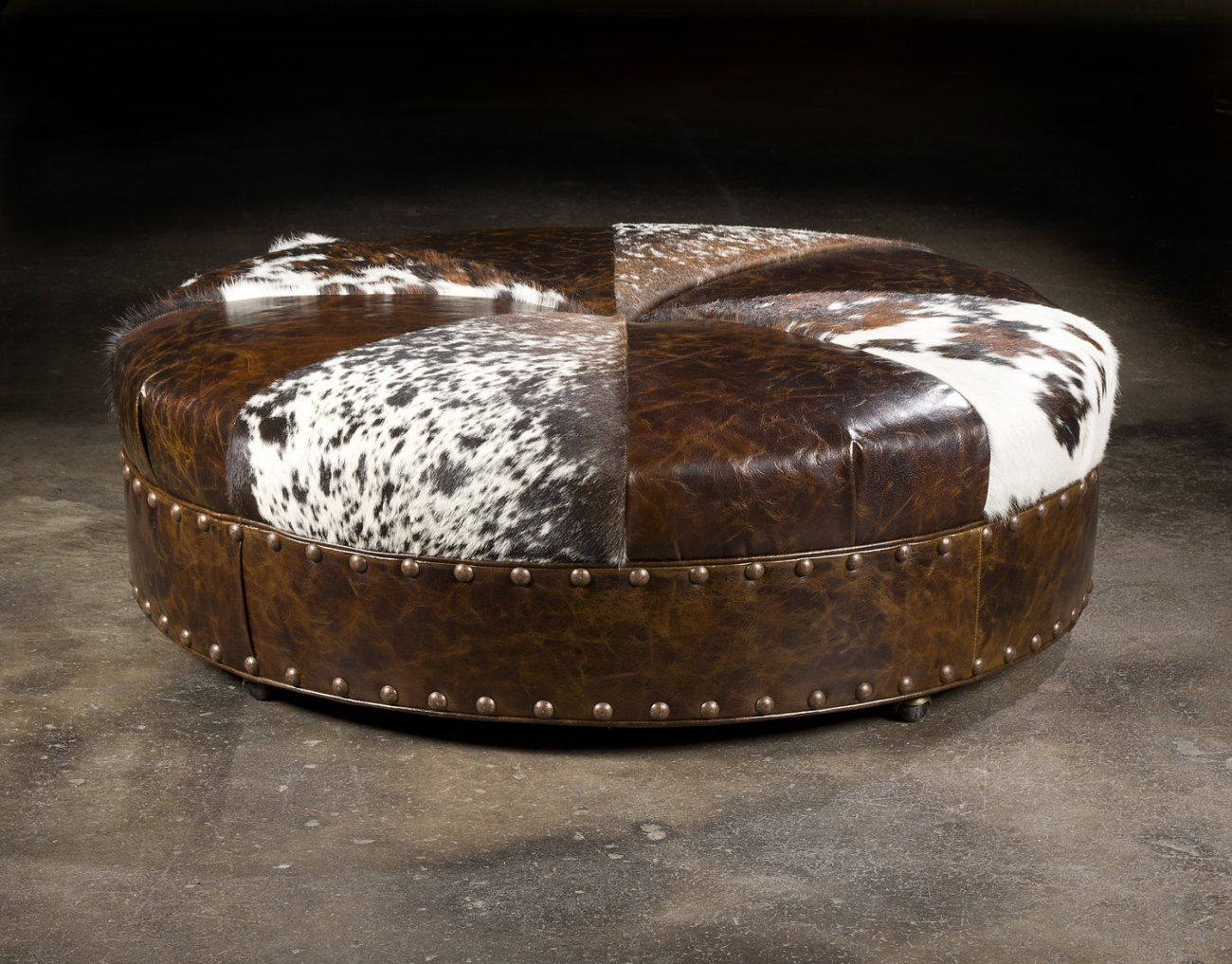 Cow Hide Leather Round Ottoman.