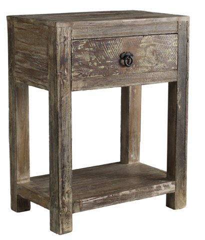 Reclaimed wood night stand with Lime wash finish
