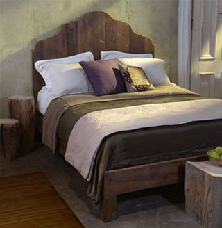 Antique pine king & queen bed with french cut profile of salvaged floor-joist material